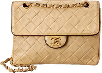 Chanel Beige Quilted Lambskin Leather Small Single Half Flap Bag