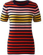 Classic Women's Petite Supima Short Sleeve Stripe Sweater-White