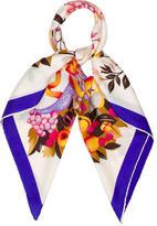 Mark Cross Floral Print Silk Scarf