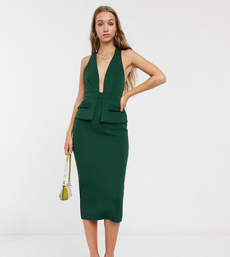 Asos Tall ASOS DESIGN Tall plunge pocket detail midi dress with tie detail in forest green