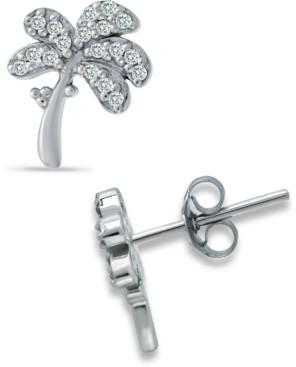 Giani Bernini Cubic Zirconia Palm Tree Stud Earrings in Sterling Silver, Created for Macy's