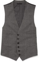Tom Ford Grey Slim-fit Prince Of Wales Checked Wool Waistcoat - Gray
