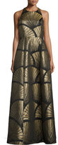 Alice + Olivia Sleeveless Metallic Scallop Racerback Gown, Black/Gold