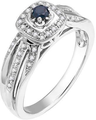 FINE JEWELRY Sterling Silver Genuine Blue Center Diamond with White Diamond Split Shank Ring