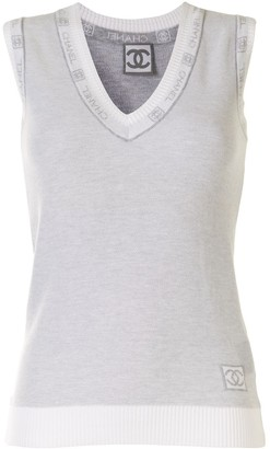 Chanel Pre Owned 2008 Logo Trim Tank Top