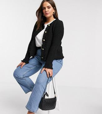 Vero Moda Curve boucle boxy jacket in black