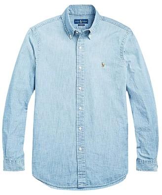 Polo Ralph Lauren Big & Tall Big Tall Chambray Sport Shirt (Medium Indigo) Men's Short Sleeve Button Up