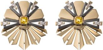 Nikos Koulis 18k Gold Fame Yellow Sapphire/Diamond Fanned Earrings
