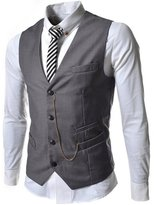 Spinty Mens Casual Cotton Blend Easy Care 4 Button Suit Vest