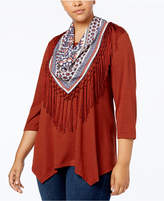 Style&Co. Style & Co Handkerchief-Hem Top with Removable Scarf, Create for Macy's