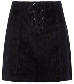 Dorothy Perkins Womens Lola Skye Black Corduroy Lace Skirt, Black