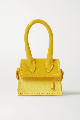 Jacquemus Le Chiquito Micro Patent-leather And Nubuck Tote - Yellow
