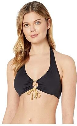 Lauren Ralph Lauren Beach Club Solids Laced Front Halter Top (Black) Women's Swimwear