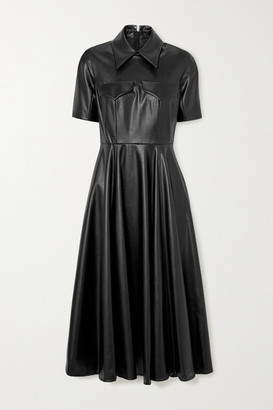 Emilia Wickstead Alice Faux Leather Midi Shirt Dress - Black