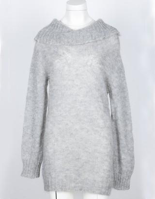Pink Memories Gray Mohair and Wool Blend Women's Turtleneck Long Sweater