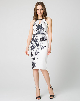 Le Château Floral Print Satin Halter Shift Dress