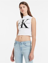 Calvin Klein Mock Neck Logo Sleeveless Top