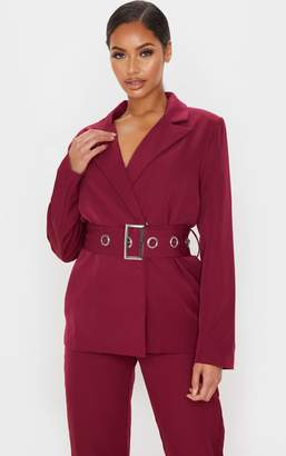 PrettyLittleThing Burgundy Buckle Detail Belted Woven Blazer