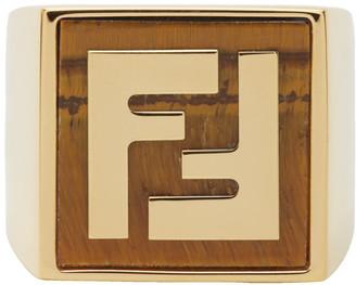 Fendi Gold and Orange Forever Signet Ring