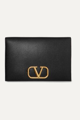 Valentino Garavani Go Logo Textured-leather Pouch - Black