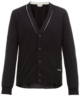 Alexander McQueen Logo-applique Cotton Cardigan - Black Cream