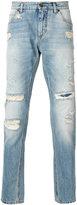 Dolce & Gabbana distressed jeans - men - Cotton/Calf Leather/zamac - 46