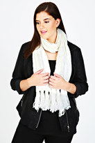 Yours Clothing Cream Cable Knit Scarf With Tassels