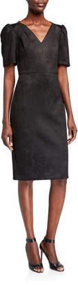 Calvin Klein V-Neck Short-Sleeve Scuba Suede Sheath Dress