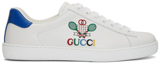 Gucci White and Blue Tennis New Ace Sneakers