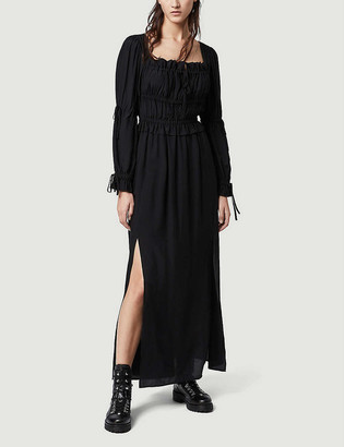AllSaints Kimi square neck silk-blend midi dress