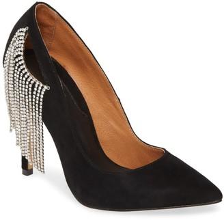 Jaggar Footwear Crystal Fringe Embellished Stiletto Pump