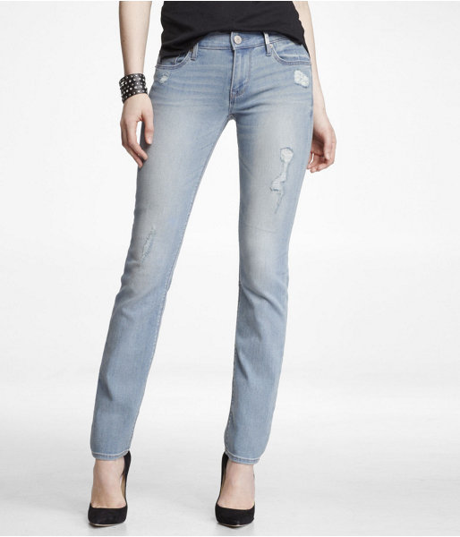 Express Mid Rise Destroyed Skinny Leg Jean