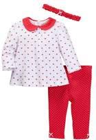 Little Me Hearts Tunic, Legging, & Headband Set (Baby Girls)