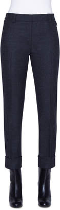 Akris Maxima Stretch Wool Flannel Ankle Pants