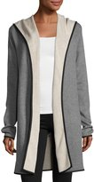 Neiman Marcus Double-Face Long Hooded Cardigan, Gray/Beige