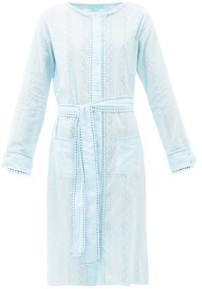 Melissa Odabash Patty Belted Cotton-voile Shirtdress - Womens - Light Blue