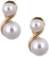 Anne Klein Goldtone and Double Pearl Earrings