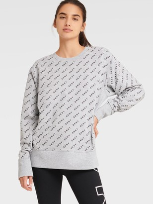 DKNY Women's All-over Logo Print Pullover - Pearl Grey Heather - Size L