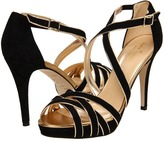 Kate Spade Ginger (Black Suede/Old Gold Metallic Nappa) - Footwear