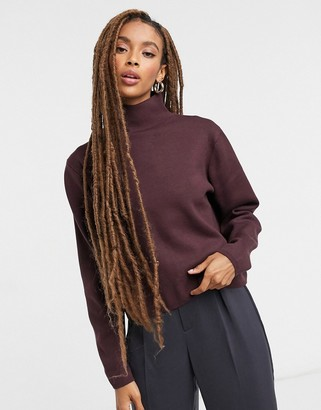 And other stories & high-neck knitted jumper in burgundy