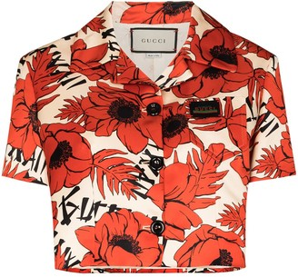 Gucci Floral-Print Cropped Bowling Shirt