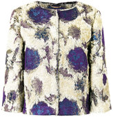 Alberta Ferretti roses print collarless jacket - women - Silk/Polyester/Acetate/metal - 40
