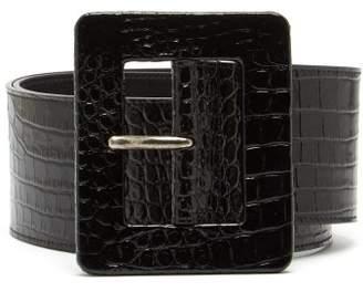 Saint Laurent Wide Crocodile Effect Patent Leather Belt - Womens - Black
