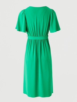 Very Serena Ruffle Wrap Midi Dress - Green