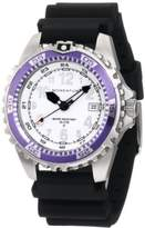 Momentum Ladies 1M-Dv11Wp1B M1 Twist Purple Bezel Black Hyper Natural Rubber Watch