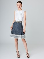 Oscar de la Renta Silk-Linen Donegal Tweed Skirt
