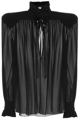 Saint Laurent Silk-georgette blouse