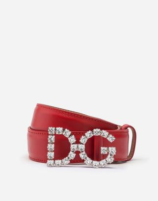 Dolce & Gabbana Calfskin Belt With Crystal Logo Buckle