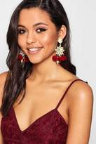 boohoo Amy Diamante And Pom Statement Earrings