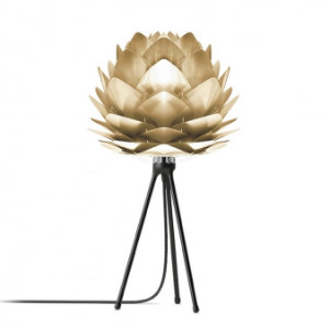 UMAGE - Mini Brushed Brass Silvia Shade With Black Tripod Table Lamp - Gold/Black